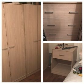 2 bedside tables, 2 chest of drawers, 2 double wardrobes