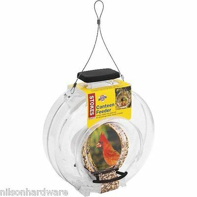2 Pack Stokes Select Clear Canteen Hanging Bird Seed Food Feeder 4.7# Cap 38236