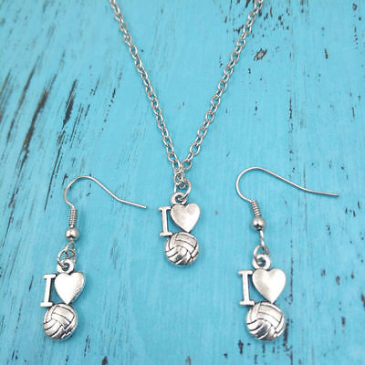 silver I Love volleyball Necklace earring pendants,women jewelry,birthday Gifts - I Love Volleyball