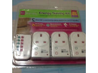 Energy saving kit with three plugs, control appliances via remote control, brand new at only £10