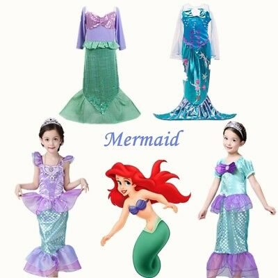 2019 Princess Little Mermaid Ariel Costume Outfit Fancy Dress Up Girls kids Gift Child Ariel Costume