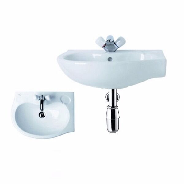 560mm Ideal Standard Space Saver Offset Corner Basin & Bottle Trap (Right Hand)