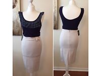 Beige bow Pencil Skirt
