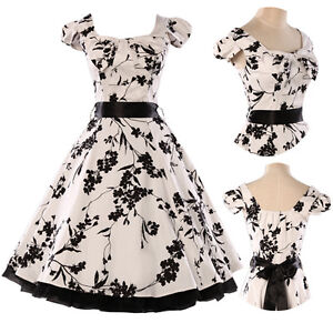 Classic-Vintage-Floral-Printed-50s-60s-Rockabilly-Swing-Prom-Cocktail-Dress