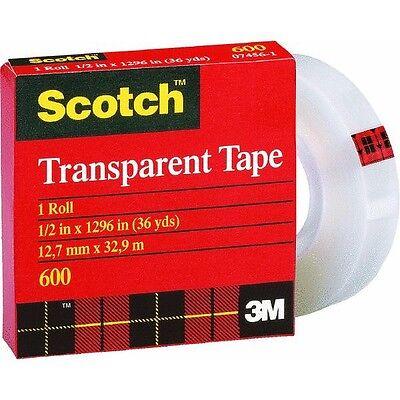 144 Pk 3m 12 X 36 Yd Scotch Transparent Tape 1 Core 600