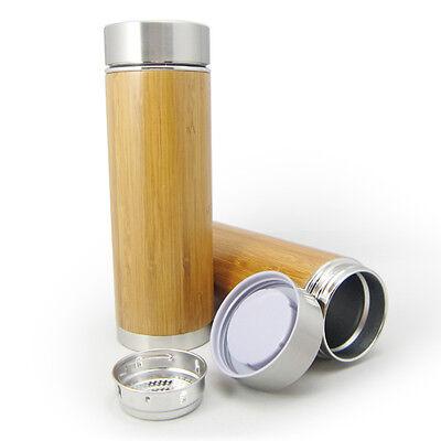 Bambus Thermobecher - doppelwandige Thermoflasche mit Teesieb und