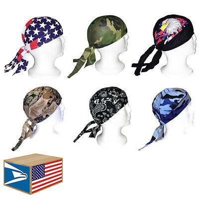6 LOT Assorted Designs SKULL CAP HEAD WRAP DU DO RAG DURAG TIE BACK BIKER HAT!