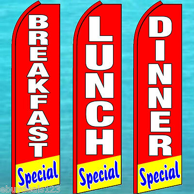 Breakfast Lunch Dinner Special Swooper Flag 3 Pole Kits Flutter Feather Banner