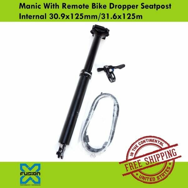 X-Fusion Manic Dropper Seatpost With Remote Internal 30.9 //31.6 Travel 125//150mm
