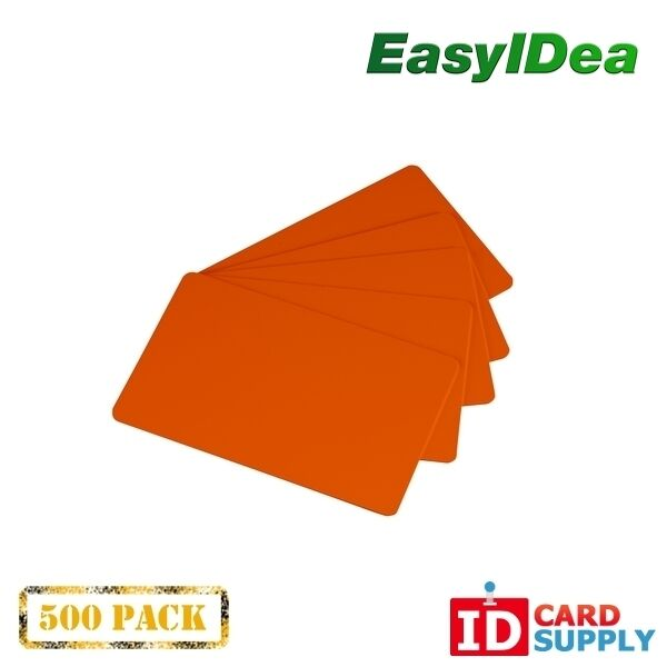 Pack of 500 Orange CR80 Standard Size PVC Cards | 30 mil Thickness by easyIDea
