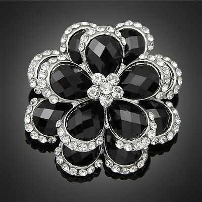 - Beautiful Alloy Silver Plated Clear and Black Stone Flower Bouquet Brooch Pin