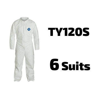 6 Suits Dupont Disposable Tyvek White Coverall Open Wrists Ankles - Ty120s