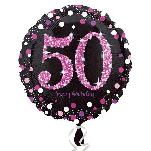 Pink Celebration 50th Birthday Foil Helium Balloon