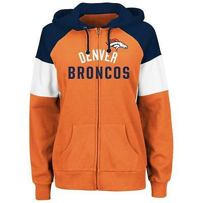 DENVER BRONCOS HOODIE MAJESTIC WOMENS HOT ROUTE FULL ZIP ORANGE SWEATSHIRT NWT Denver Broncos Womens Sweatshirts