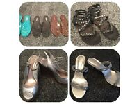 Selection of Shoes, Clothes and Black Flower Satin Clutch Bag