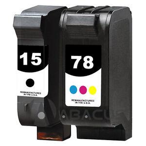 2pk remanufactured ink jet cartridges for hp 15 78 psc 750 xi 950 950xi printer. Black Bedroom Furniture Sets. Home Design Ideas
