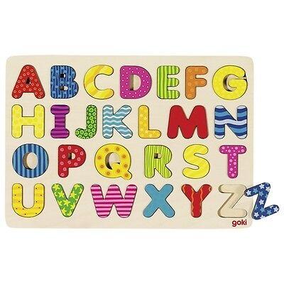 Alphabetpuzzle, goki 57672, Lernspielzeug, Holzspielzeug, Buchstabenpuzzle
