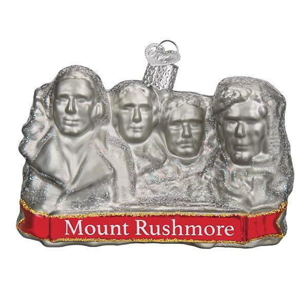 MOUNT RUSHMORE OLD WORLD CHRISTMAS SOUTH DAKOTA USA GLASS ORNAMENT NWT 36183