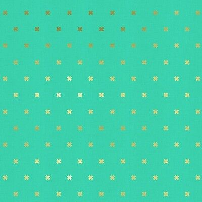 Cotton and Steel XOXO Aqua Gold X By The yard cotton  Melody Miller