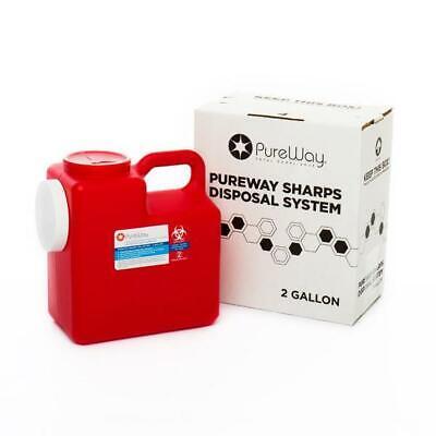 Pureway Sharps 2 Gallon Disposal System Single With Shipping Box Return