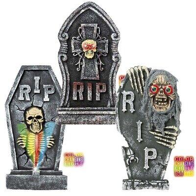 GRABSTEIN- RIP mit farbwechselnden LED Licht - Halloween Friedhof Deko  H 60 cm