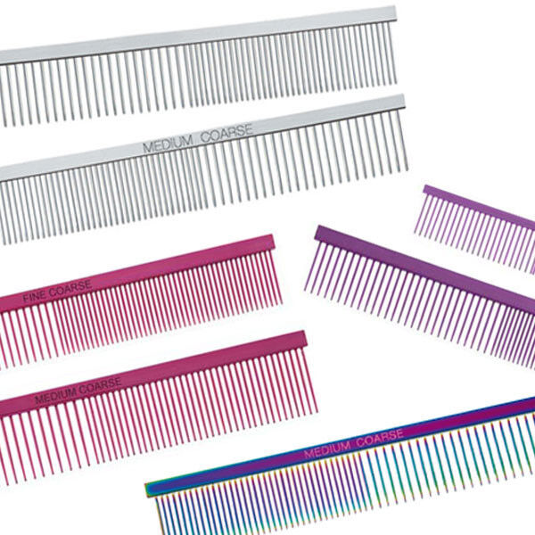 Dog Puppy Cat Grooming Comb - Greyhound Combs - Face Finish,  Fine Medium Coarse