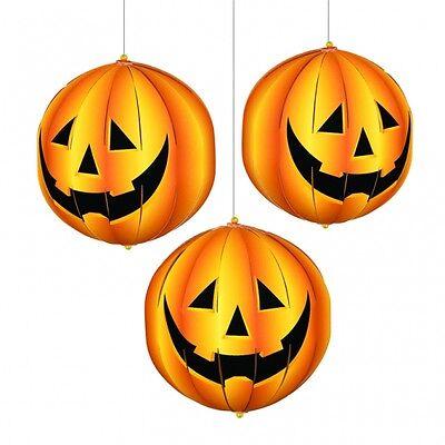 3 x 3D Laterne Kürbis Deko Halloween Raumdeko Halloweenparty Gruselparty neu