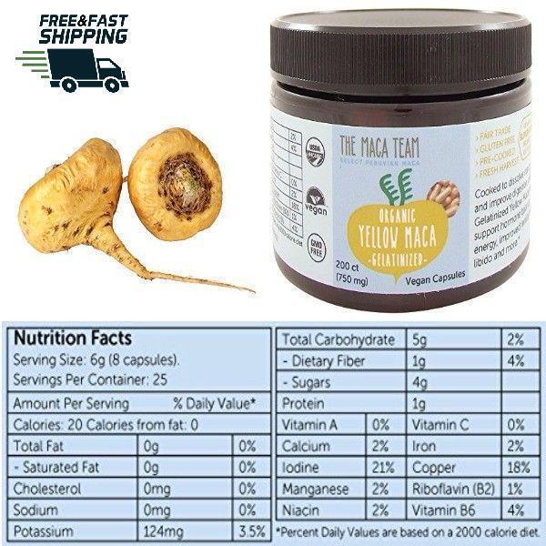 Certified Organic Gelatinized Pills Yellow Maca Root Capsule
