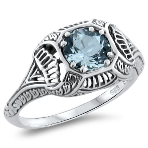 GENUINE AQUAMARINE ANTIQUE DESIGN .925 STERLING SILVER FILIGREE RING,       #287