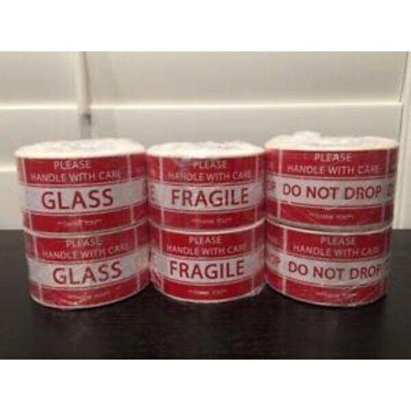 "3000-Stickers (6-Rolls) 2x3"" ***GLASS***FRAGILE***DO NOT DROP***(2-Rolls each)"
