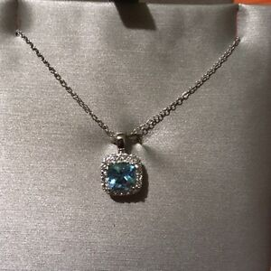 Blue Topaz and White Sapphire Pendant in Sterling Silver London Ontario image 1