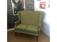 Wingback 2 seater sofa settee suite light green Vintage French legs - CAN DELIVER