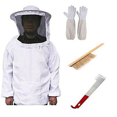 Beekeepers Schutzanzug Imkerjacke Hut Schleier Jake Handschuhe mit Werkzeug Set