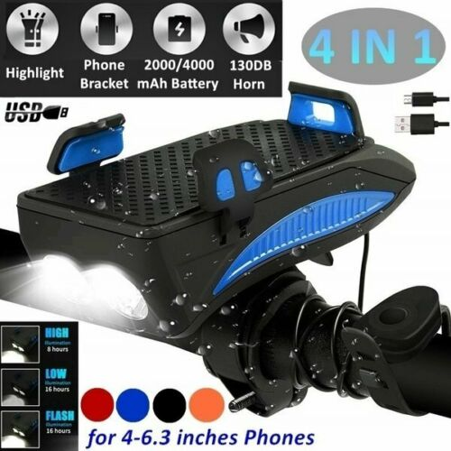4 in1 Bicycle headlight Phone Holder Bike Horn Bell w// 4000mAh Battery T6 LED