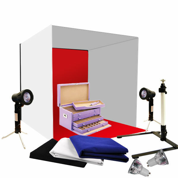 "Photo Studio 24"" Photography Light Tent Backdrop Kit Cube Lighting In A Box"