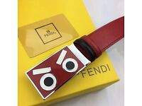 Red buckle red and black leather belt eyes for men fendi boxed complete amazing