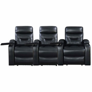 Saturn Leather Gel Power Recliner Home Theatre 3 Seat
