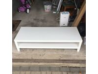White TV & SAT Stand Ikea Lack 150cm