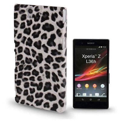 Hardcase Schutzhülle für Sony xperia Z / L36h Leopard Style weiß schwarz Cover Leopard Hard Case Cover