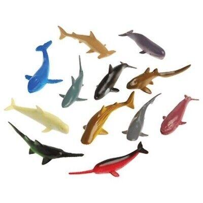 12  Mini Shark & Whales Party Favors Cupcake topper Ocean Luau - Whale Party Favors