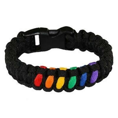 Gay Pride Paracord Survivor Bracelet Black Between Rainbow Center LGBTQ