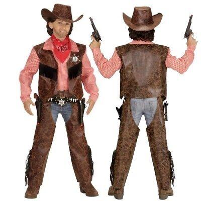 Kinder Western Kostüm (Cowboy Kinder Jungen Western Kostüm Buffalo Bill - Weste mit Hemd + Chaps +Hut)