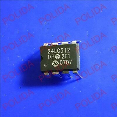 5pcs Eeprom Ic Microchip Dip-8 24lc512-ip 24lc512