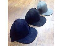 Suede plain baseball curve peak and flat peak caps hats plus embroidery printing