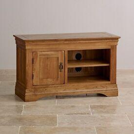 French Farmhouse Rustic Solid Oak Small TV Cabinet