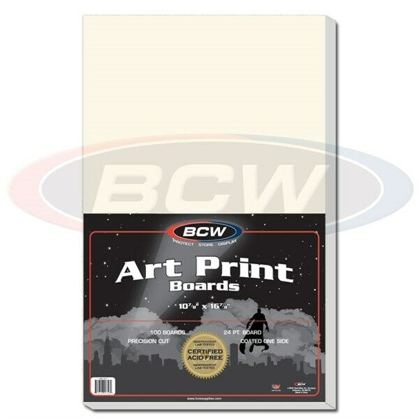 Case of 500 BCW 11 x 17 Acid Free Art Print Backing Boards 11x17 white backer