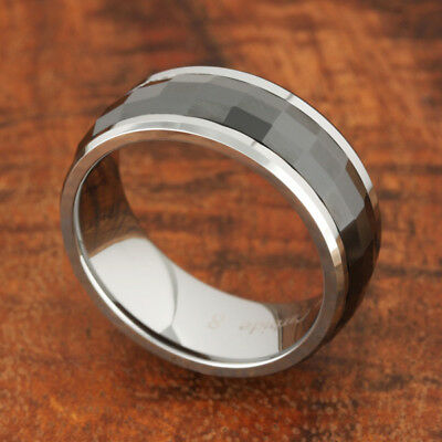 Black Ceramic Spinning Tungsten Ring Mens Wedding Ring Men's Jewelry 8mm