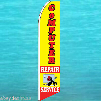 Computer Repair   Service Flutter Flag Advertising Sign Feather Swooper Banner