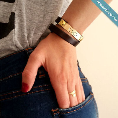 Couple Custome Ideas (Custom Engraved Infinity Bracelet - Couple Gift - Wrap Leather Cuff - Gift)