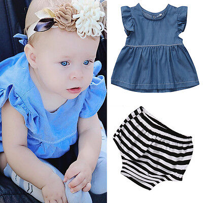 USA Newborn Baby Boys Girls Cowboy Shirt Tops + Striped Shorts Clothes Outfits (Cowboy Girls Outfits)